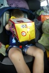He loved his happy meal box.